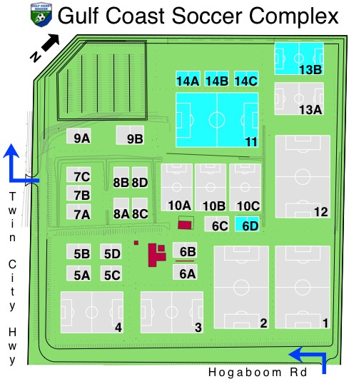 GC Soccer Complex Field Layout Map - Updated May 2019