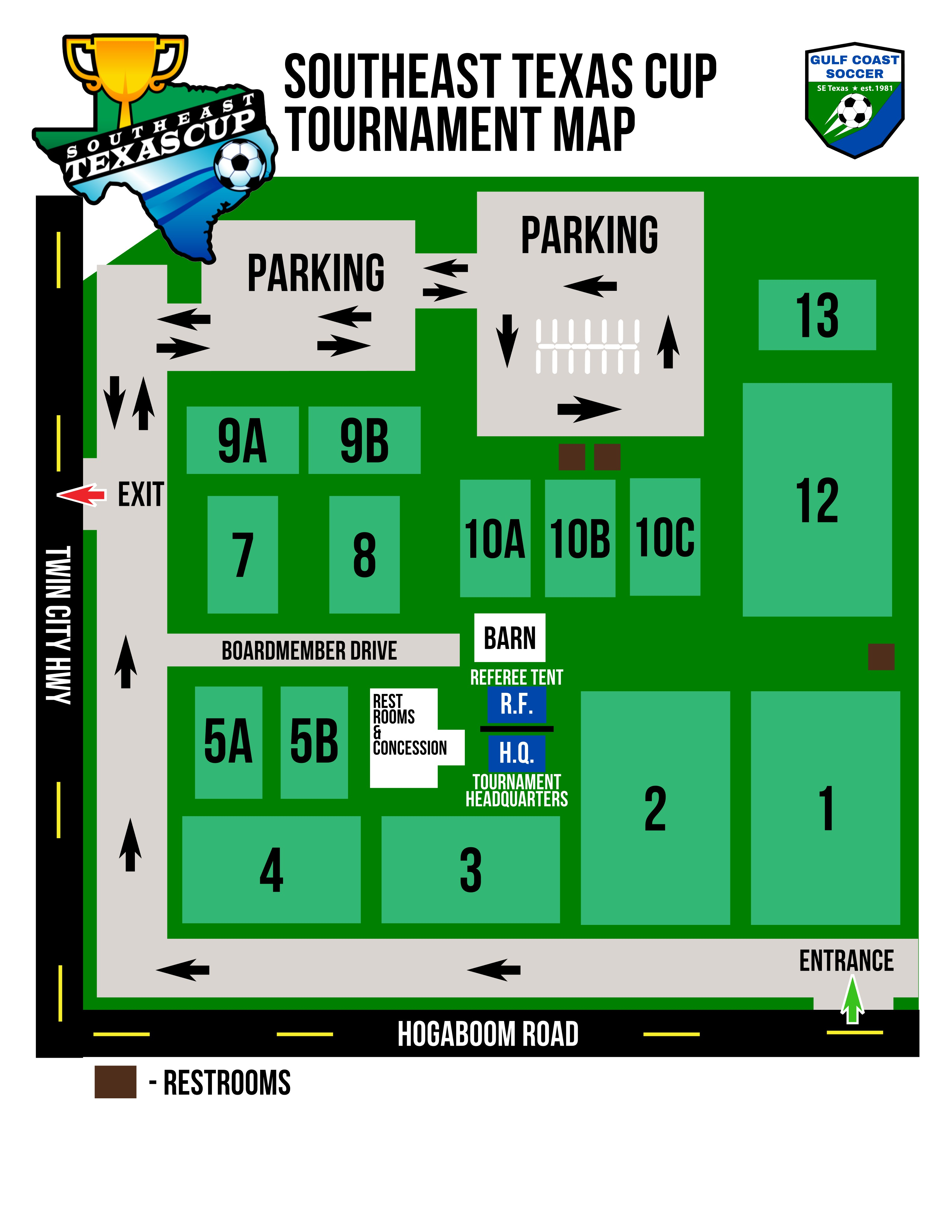 Southesat Texas Cup 2021 - Event Field Map